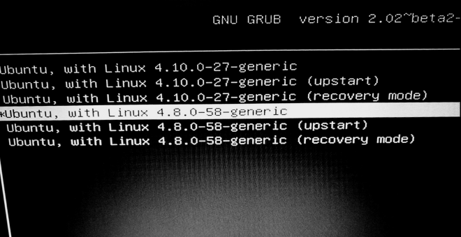 GRUB advanced menu